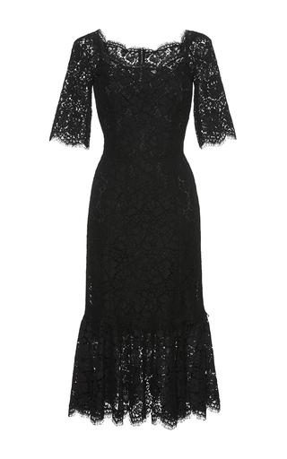 Medium dolce gabbana black ruffled hem lace dress