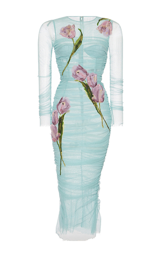 Medium dolce gabbana light blue tulip printed bodycon dress