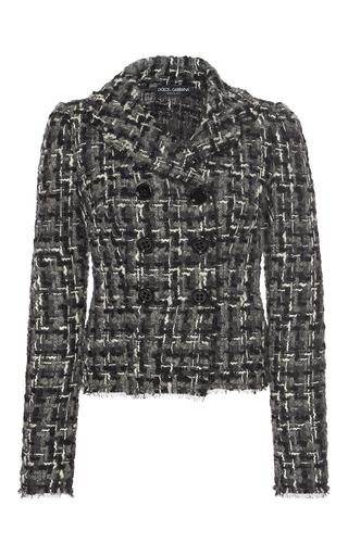 Medium dolce gabbana black white double breasted tweed jacket