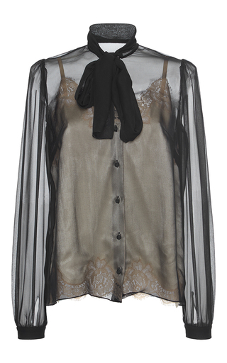 Medium dolce gabbana black sheer bow blouse