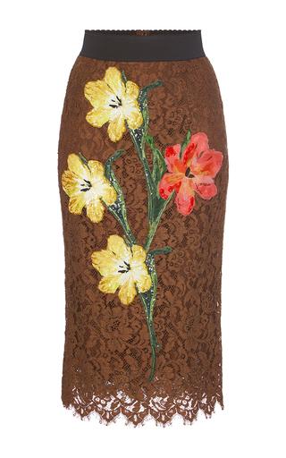 Medium dolce gabbana brown lace pencil skirt
