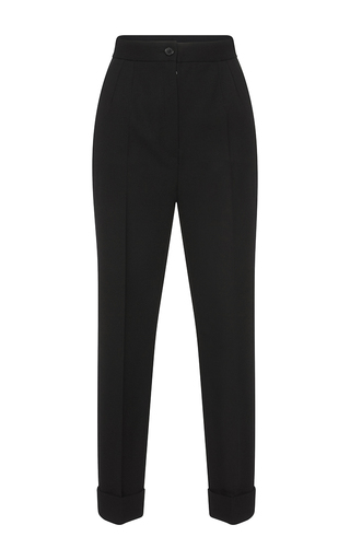Medium dolce gabbana black cropped wool trousers