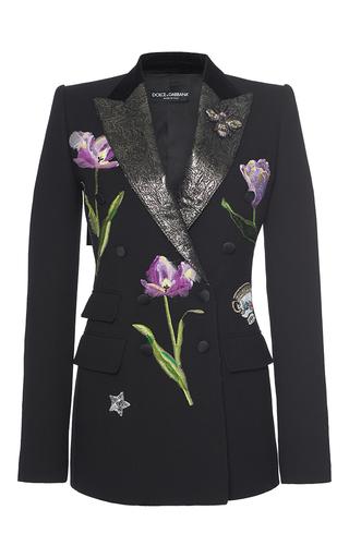Medium dolce gabbana black floral embellished blazer