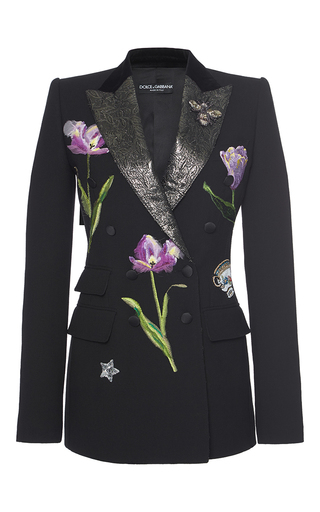 Medium dolce gabbana black floral embellished blazer