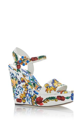 Medium dolce gabbana white maiolica tile platform heels