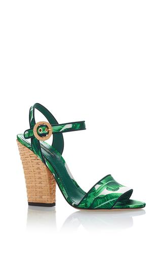 Medium dolce gabbana green palm and raffia block heels