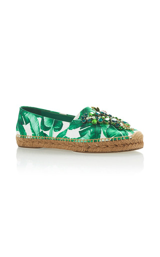 Medium dolce gabbana green palm leaf embellished espadrilles