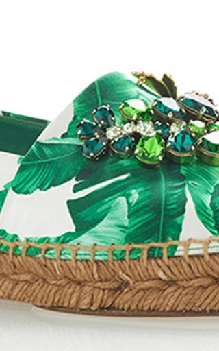 Palm Leaf Embellished Espadrilles by DOLCE & GABBANA Now Available on Moda Operandi