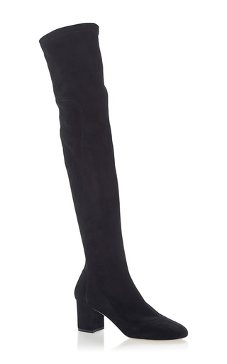 Medium dolce gabbana black suede knee high boots