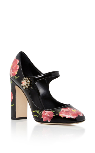 Medium dolce gabbana black floral leather mary janes