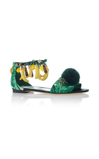 Medium dolce gabbana green banana and palm embroidered sandals