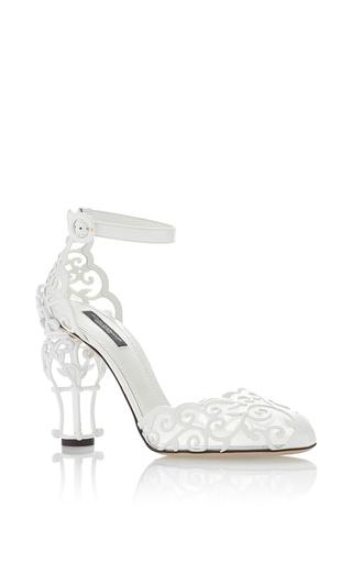 Medium dolce gabbana white trelis detailed sandals