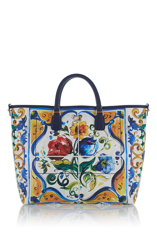 Medium dolce gabbana white maiolica tile leather shopper