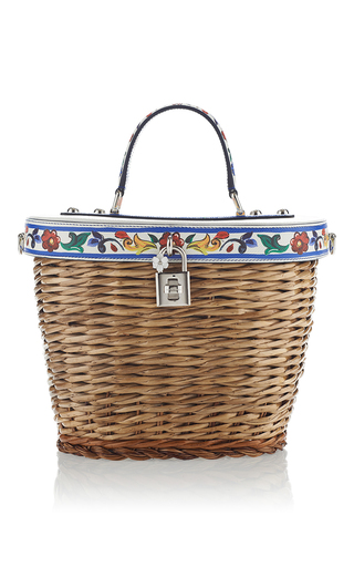 Medium dolce gabbana tan printed tile wicker bag