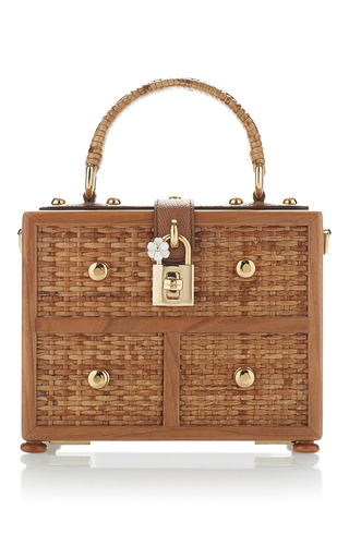 Medium dolce gabbana tan wicker box bag