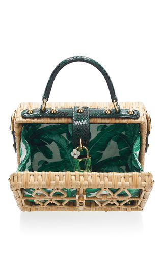 Palm Print And Wicker Box Bag by DOLCE & GABBANA Now Available on Moda Operandi