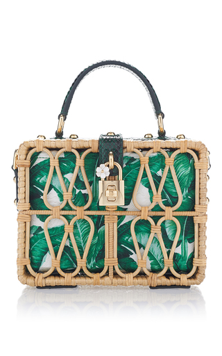 Medium dolce gabbana green palm print and wicker box bag