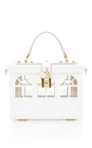 Medium dolce gabbana white trellis top handle bag