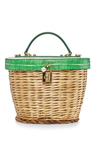 Medium dolce gabbana green banana leaf printed basket bag