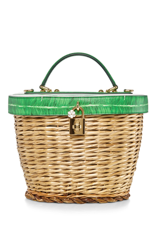 Medium dolce gabbana green banana leaf printed basket bag