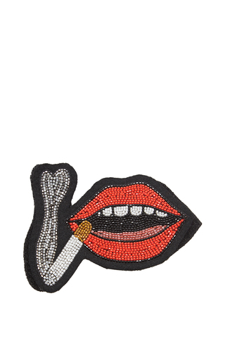 Medium olympia le tan red velcro lips and cigarette patch