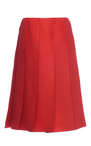 Medium nina ricci red wool and silk pleated skirt