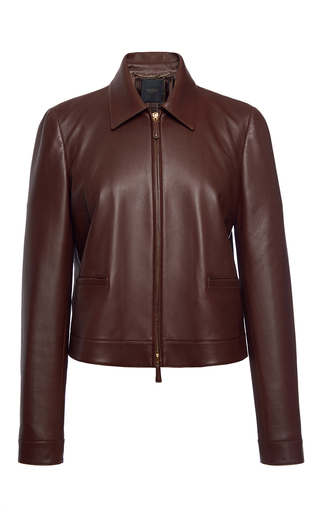Medium agnona brown leather zip front boxy jacket