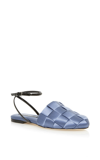 Medium marco de vincenzo blue blue satin slipper flat