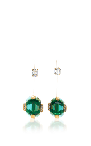 Medium marni green spherical strass earrings