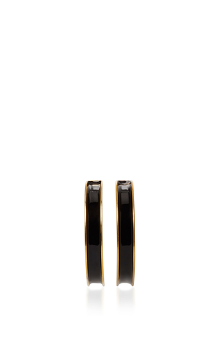 Medium marni black enamel brass hoop earrings