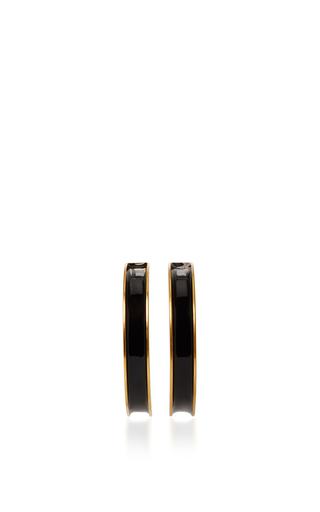 Medium marni black enamel brass hoop earrings