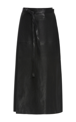 Medium isabel marant black candy leather wrap skirt
