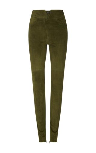 Medium isabel marant green eydie high waist suede trousers