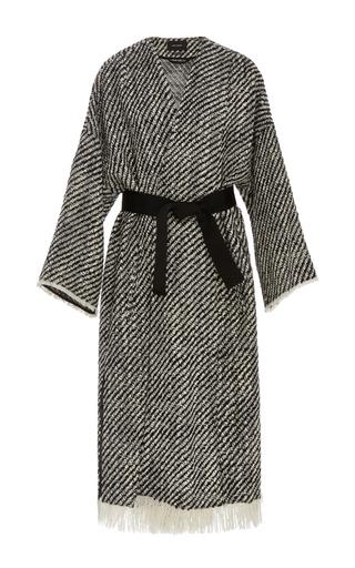 Medium isabel marant black white iban frayed wrap coat