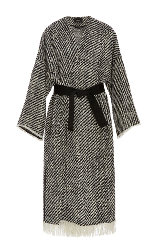 Medium isabel marant black white iban frayed wrap coat