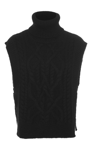 Medium isabel marant black grant cable knit sweater