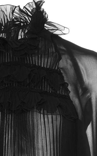 Ruffled Neck Blouse by GIAMBA Now Available on Moda Operandi