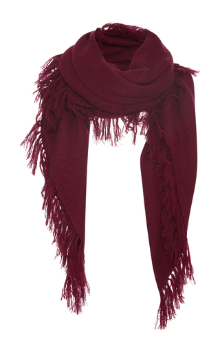Medium isabel marant burgundy zila fringe scarf