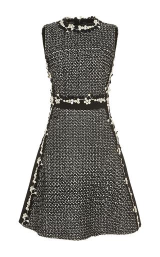 Medium giambattista valli black white floral embellished tweed mini dress