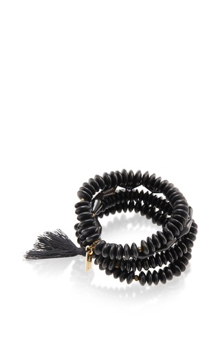 Medium isabel marant black beaded tassel bracelet