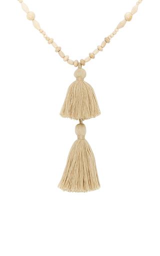 Medium isabel marant ivory beaded tassel necklace