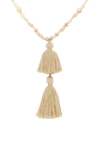 Medium isabel marant ivory beaded tassel necklace