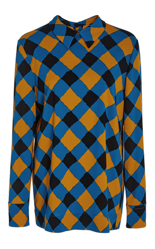 Medium marni plaid checkered polo collared blouse