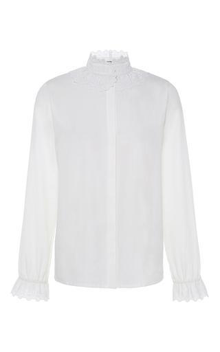 Medium vilshenko white margo lace trim blouse