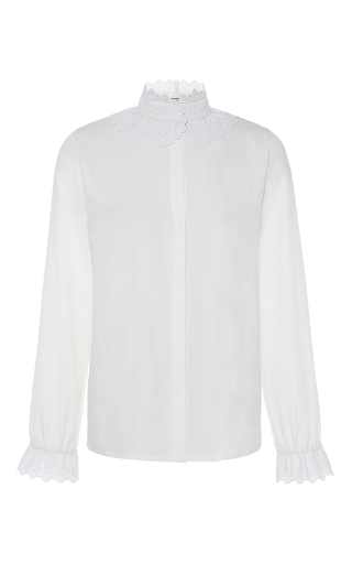 Medium vilshenko white margo lace trim blouse