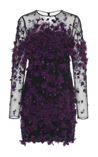 Medium zuhair murad purple floral embroidered crepe de chine dress
