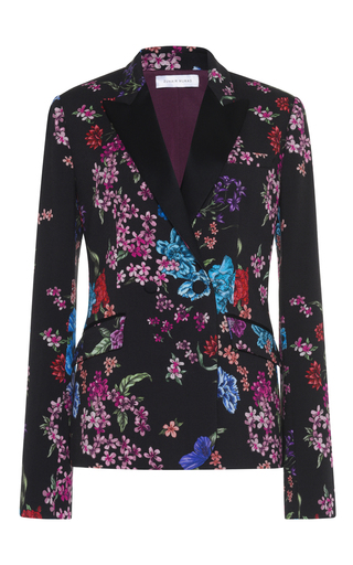 Medium zuhair murad black floral cady tuxedo jacket