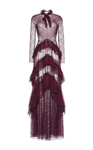 Medium zuhair murad purple ruffled chiffon lace gown