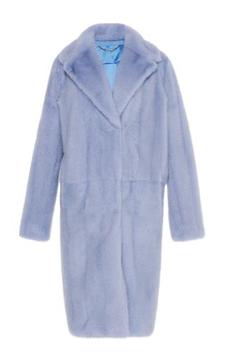 Medium zuhair murad blue blue embroidered fur coat