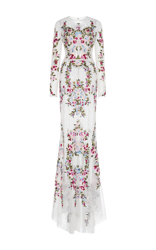 Medium zuhair murad ivory thread embroidered long sleeve lace gown